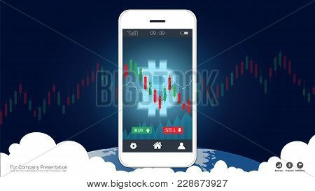 Smart Phone Screen Showing Bitcoin And Candlestick Financial Graph Charts Climbing Up, Global Networ