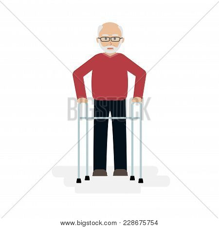 Elderly Man, Grandfather Walking With A Walker. Vector Illustration In A Flat Style.
