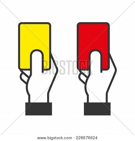 Judge Hands Holding Red And Yellow Cards. Vector Illustration