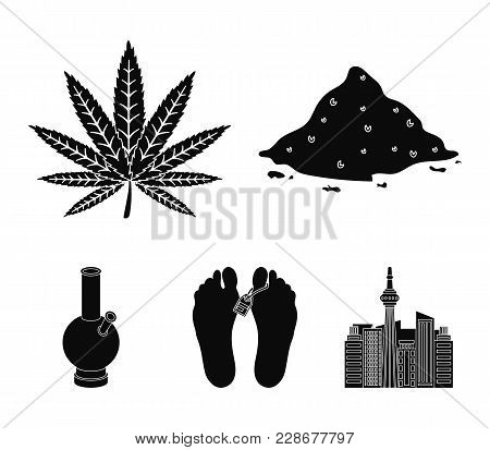 Hemp, Cocaine, Bong, Corpse In The Morgue. Drugs Set Collection Icons In Black Style Vector Symbol S