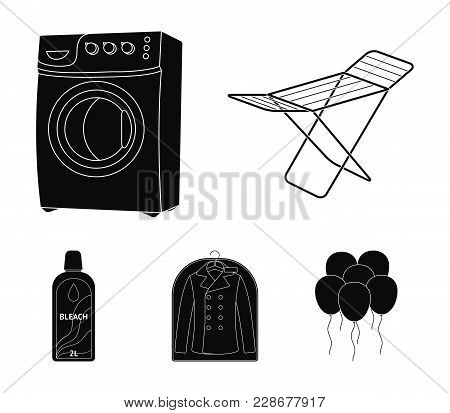 Dryer, Washing Machine, Clean Clothes, Bleach. Dry Cleaning Set Collection Icons In Black Style Vect