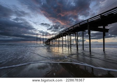 Fishing Pier At Sunrise In Outer Banks, Nc