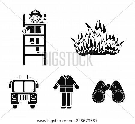 Flame, Fireman On The Stairs, Uniform, Fire Truck.fire Department Set Collection Icons In Black Styl
