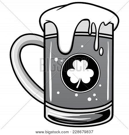 Irish Beer Illustration - A Vector Cartoon Illustration Of A Mug Of Irish Beer.