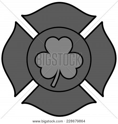 Irish Firefighter Maltese Cross Illustration - A Vector Cartoon Illustration Of A Irish Firefighter