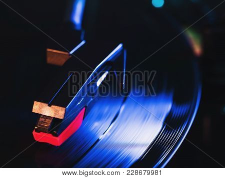 Cinemagraph, Retro Record Vinyl Player. Record On Turntable. Top View Close Up. Loop-able Vintage Ph