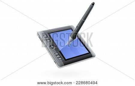 Digital Tablet Monitor With Pen For Drawing. Device For Computer. Isolated White Background. Eps10 V