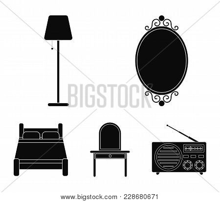 Mirror, Drawer, Table Lamp, Bed.furniture Set Collection Icons In Black Style Vector Symbol Stock Il