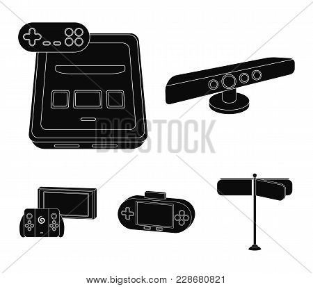 Game And Tv Set-top Box Black Icons In Set Collection For Design.game Gadgets Vector Symbol Stock  I