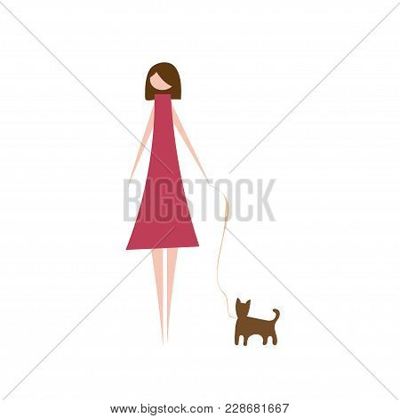 Vector Illustration Of Modern Woman With Pet Dog. Silhouette Of Fashion Girl Character Dressed In St