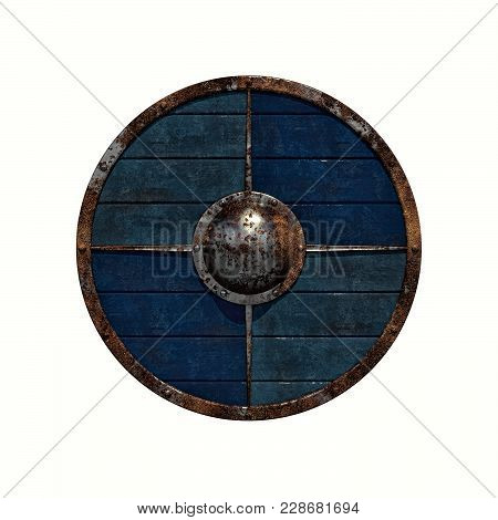 Viking Shield: 3d Render Illustration Of An Old Rusty Viking Shield On A White Background