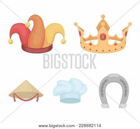 Crown, Jester's Cap, Cook, Cone. Hats Set Collection Icons In Cartoon Style Vector Symbol Stock Illu