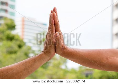 Close Up Of Hand Clap Of Men For Congratulation
