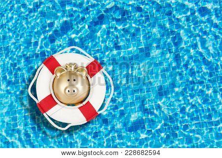 Bank Piggy Lifebuoy White Money Isolated Wealth
