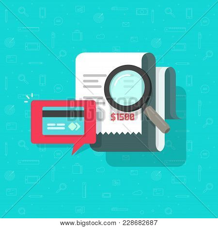 Online Payment Audit Analyzing Vector Illustration, Pay Bill Research Concept, Financial Transaction