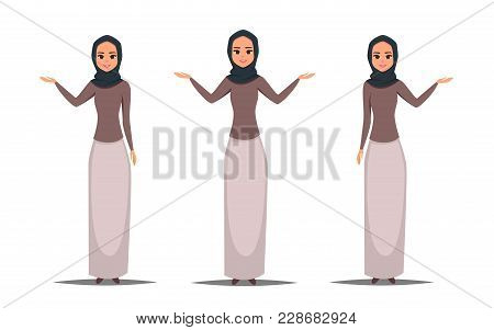 Set Of Cartoon Business Arab Woman Character With Hijab. Smiling Girl In Hijab Presenting Something