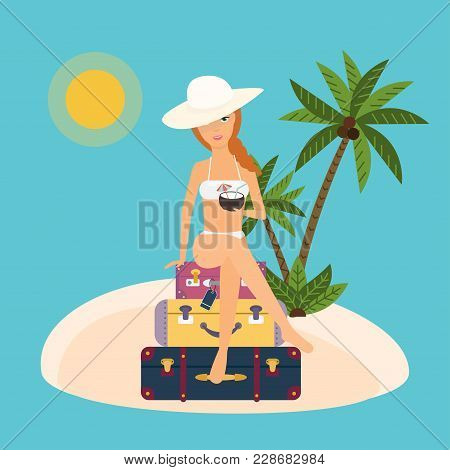 Woman Sits On Suitcases With Cocktail In Hand. Vector Illustration On Summer Vacation Beach Resort.
