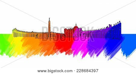 Vatican St Peter Place Banner. Beautiful Hand Drawn Vector Sketch. Travel Illustration For Social Me