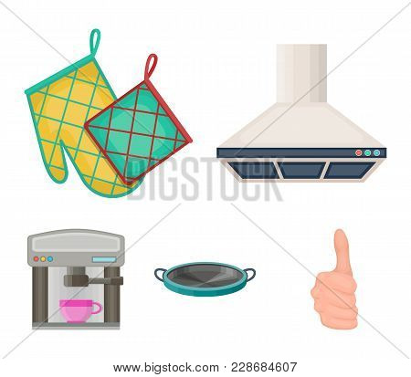 Kitchen Equipment Cartoon Icons In Set Collection For Design. Kitchen And Accessories Vector Symbol