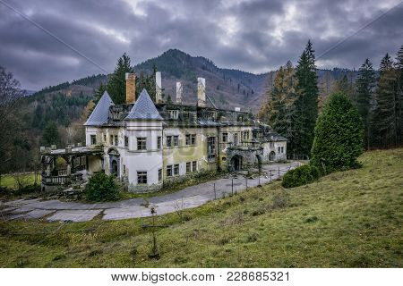 Kunerad, Slovakia - November 27, 2017 : Abandoned Health Spa Resort Near The Village Of Rajecke Tepl