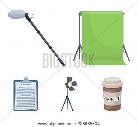 Hromakey, Script And Other Equipment. Making Movies Set Collection Icons In Cartoon Style Vector Sym