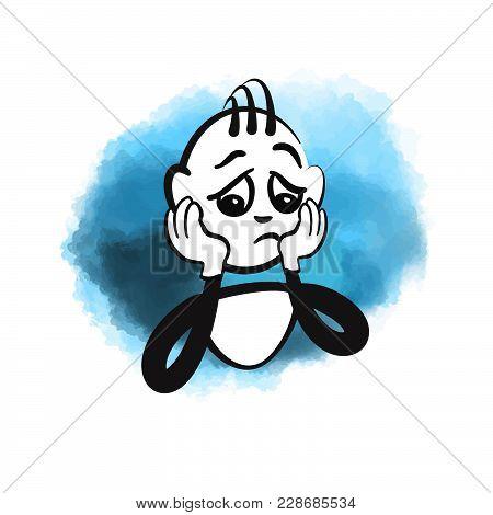 Stick Figure Sad. Beautiful Hand Drawn Vector Sketch. Colorful Scene For Social Media And Print Deco