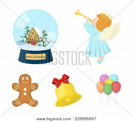 Angel, Glass Bowl, Gingerbread And Bell Cartoon Icons In Set Collection For Design. Christmas Vector