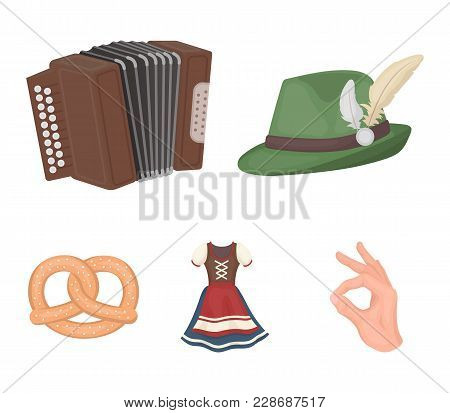 Tyrolean Hat, Accordion, Dress, Pretzel. Oktoberfestset Collection Icons In Cartoon Style Vector Sym