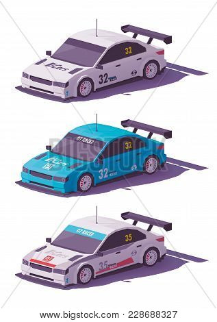Vector Low Poly Touring Racing Car In White And Blue Liveries