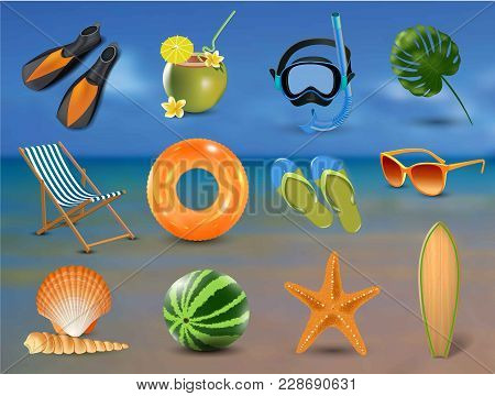 Realistic Summer Holidays Seaside Beach Icons Set Isolated Vector Illustration On Seaside Background