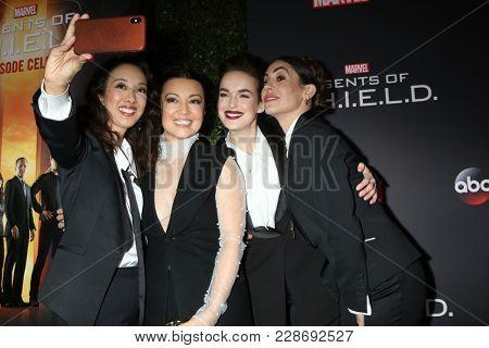 LOS ANGELES - FEB 24:  Maurissa Tancharoen, Ming-Na Wen, Elizabeth Henstridge, Natalia Cordova-Buckley at