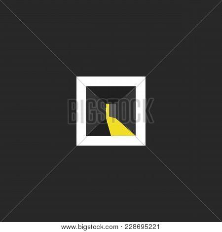 Open Door Logo Design, Abstract Dark Room With Light In The Doorway Space, Isometric Shape Interior