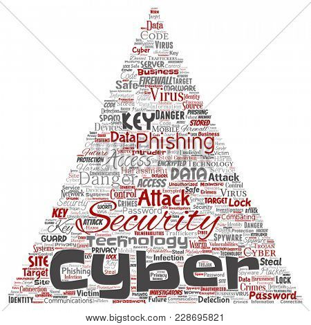 Conceptual cyber security online access technology triangle arrow word cloud isolated background. Collage of phishing, key virus, data attack, crime, firewall password, harm, spam protection