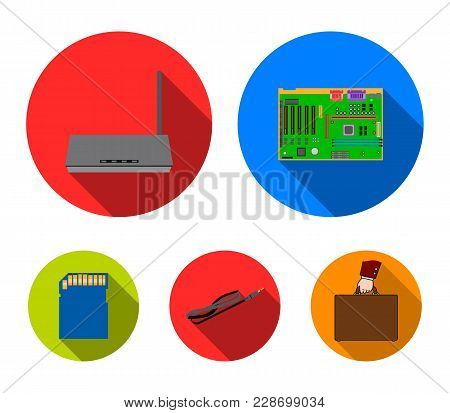Motherboard, Router And Other Accessories. Personal Computer Set Collection Icons In Flat Style Vect