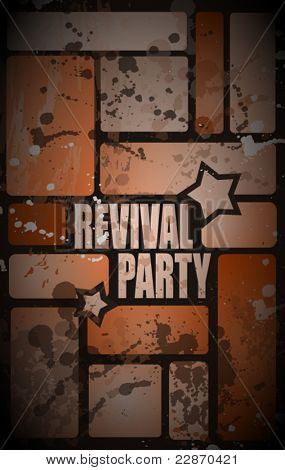 Retro' revival disco party flyer or poster for musical event with grunge distressed look.