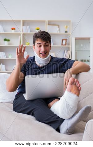 Man injured in car crash recovering at home from whiplash injury
