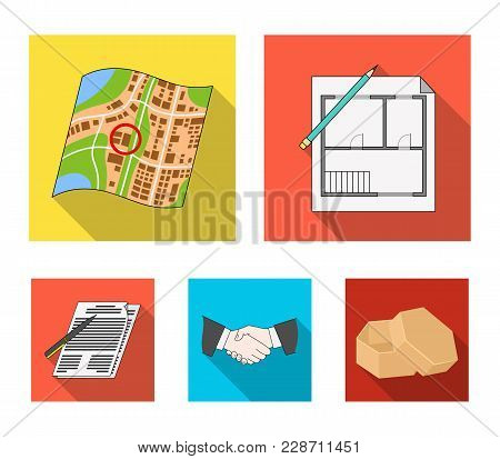 House Plan, Documents For Signing, Handshake, Terrain Plan. Realtor Set Collection Icons In Flat Sty