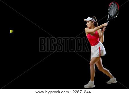 Young woman tennis player isolated (with ball version)