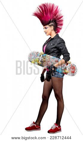 Young punk girl isolated on white