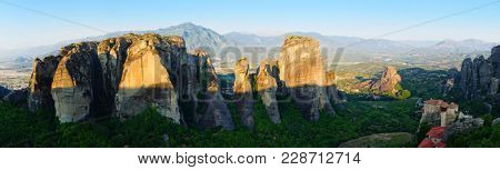 Meteora mountains at early morning on summer