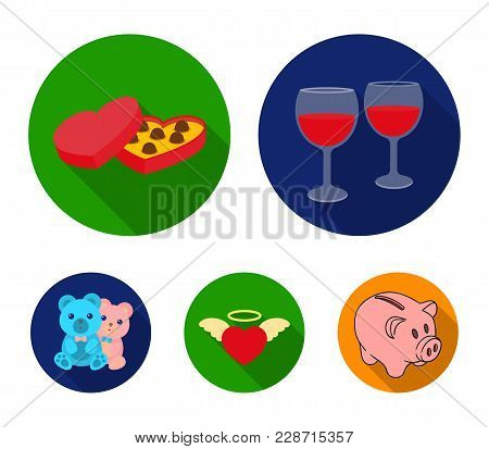 Glasses With Wine, Chocolate Hearts, Bears, Valentine.romantik Set Collection Icons In Flat Style Ve