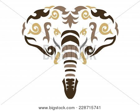 Tribal Elephant Illustration, African Elephant In Tribal Style, Ornamental White Line Elephant