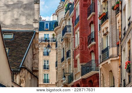 View of typical parisian residential buildings.
