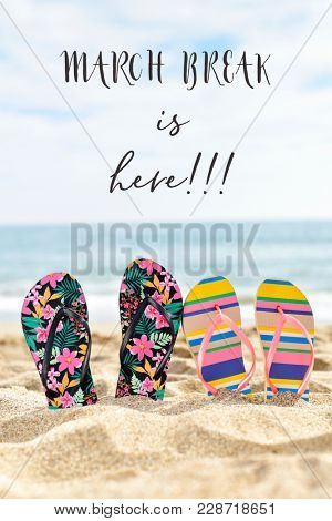 two pairs of colorful flip-flops on the sand of a quiet beach with the sea in the background and the text march break is here