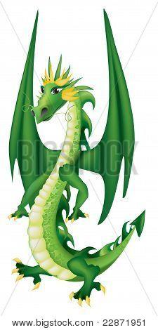 Cartoon  Green Dragon