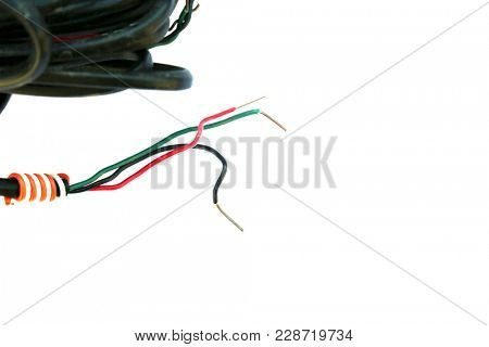 copper wire. insulated copper wire isolated on white. copper wire scrap for recycling