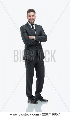 portrait in full growth. confident businessman