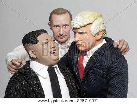 FEB 25 2018: Caricatures of US President Donald Trump, Russian President Vladimir Putin and North Korean Supreme Leader Kim Jong Un grouped together