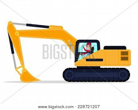 Vector Illustration Of A Cartoon Character Male Driver On An Building Machine Excavator. Isolated Wh