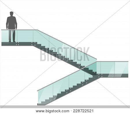 Modern Staircase With Glass Railings. Vector Graphics